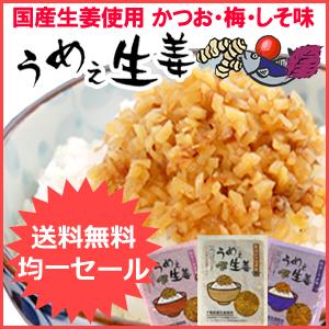うめぇ生姜 3種セット(鰹、梅、しそ)