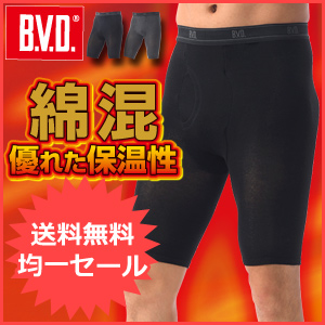 BVD 防寒 綿混丸編み 5分丈タイツ