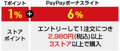 Tポイント1%+PayPayボーナスライト6% エントリーして1注文につき2,980円(税込)以上 3ストア以上でご購入