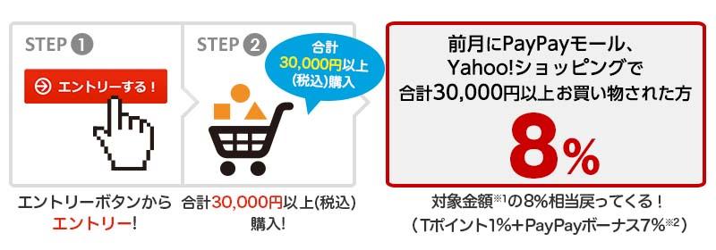 エントリーボタンからエントリー! 合計30,000円以上(税込)購入 前月にPayPayモール、Yahoo!ショッピングで合計30,000円以上お買い物された方 8% 対象金額※1の8%相当戻ってくる!(Tポイント1%+PayPayボーナス7%※2)