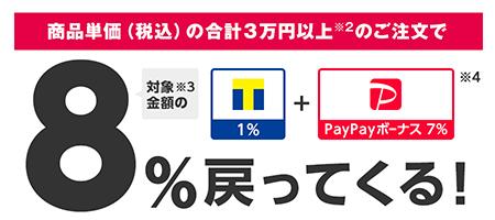 商品単価(税込)の合計3万円以上※2のご注文で 8%戻ってくる!