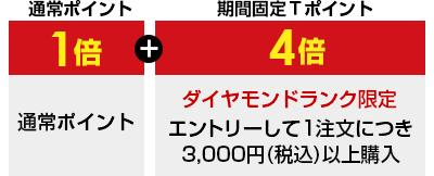 通常ポイント1倍 期間固定Tポイント4倍 ダイヤモンドランク限定 エントリーして1注文につき3000円(税込)以上購入