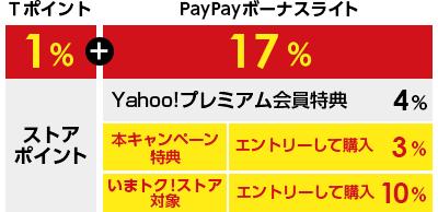 Tポイント1%+PayPayボーナスライト17% Yahoo!プレミアム会員特典4% 本キャンペーン特典 エントリーして購入3% いまトク! ストア対象 エントリーして購入10%