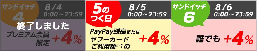 サンドイッチ4 8/4 0:00~23:59 終了しました 5のつく日 8/5 0:00~23:59 PayPay残高またはヤフーカードご利用額※1の+4% サンドイッチ6 8/6 0:00~23:59 誰でも+4%