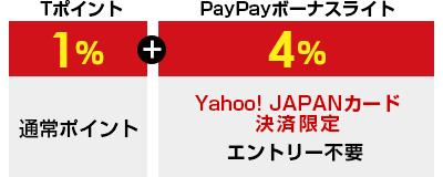 Tポイント1%+PayPayボーナスライト4% Yahoo! JAPANカード決済限定 エントリー不要