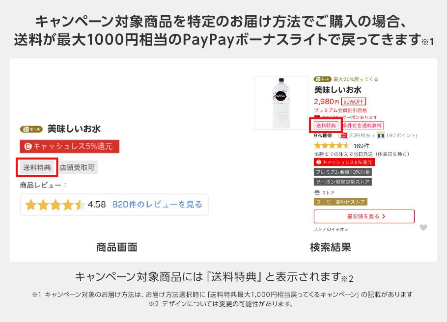 キャンペーン対象商品を特定のお届け方法でご購入の場合、送料が最大1000円相当のPayPayボーナスライトで戻ってきます※1