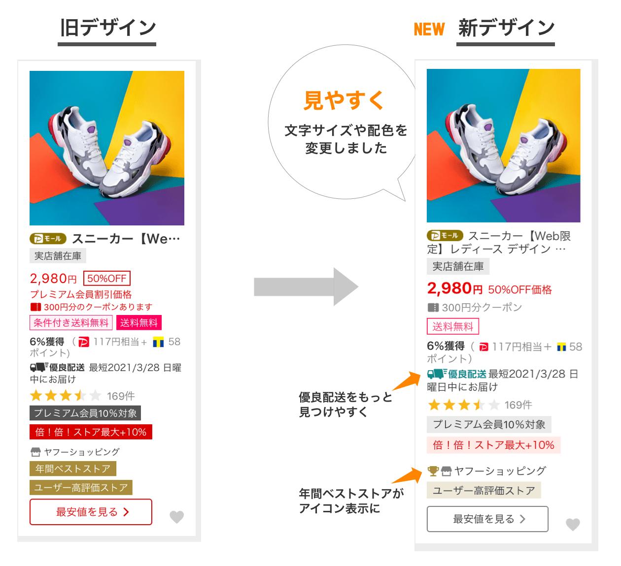 Yahoo!ショッピング検索結果ページ、デザインリニューアル