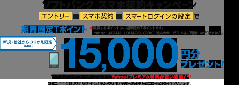 ソフトバンク スマホ契約キャンペーン エントリーして、スマホ契約して、スマートログインの設定で期間固定Tポイント15,000円分プレゼント! さらに学生も、家族も、先生も、大容量! 学割先生1月17日から受付開始! ※進呈するポイントは、期間固定Tポイントです。Yahoo! JAPAN、LOHACO、GYAO!以外のサービスではご利用いただけません。 新規・のりかえ<MNP>限定 ソフトバンクユーザーになるとYahoo!プレミアム特典が使い放題! ※一部対象外(法人向けなど)の料金プランがあります。ご利用にはスマートログインの設定が必要です。
