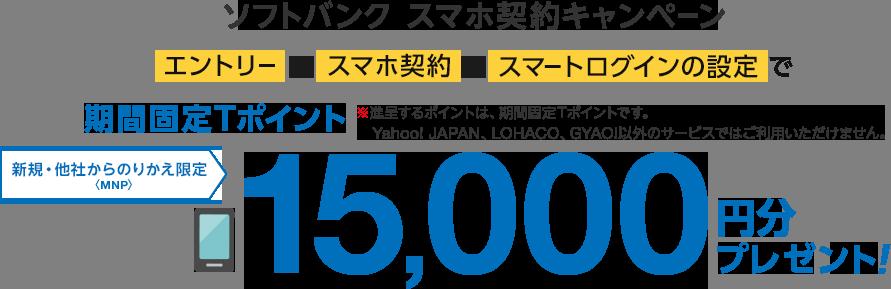 ソフトバンク スマホ契約キャンペーン エントリーして、スマホ契約して、スマートログインの設定で期間固定Tポイント15,000円分プレゼント! ※進呈するポイントは、期間固定Tポイントです。Yahoo! JAPAN、LOHACO、GYAO!以外のサービスではご利用いただけません。 新規・他社からのりかえ<MNP>限定