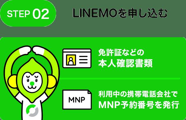 STEP02 LINEMOを申し込む 免許証などの本人確認書類 利用中の携帯電話会社でMNP予約番号を発行
