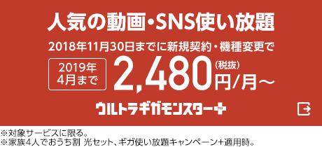 人気の動画・SNS使い放題。2018年11月30日までに新規契約・機種変更で2019年4月まで月額2,480円(税抜)から。ウルトラギガモンスタープラス(外部サイト)