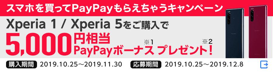 スマホを買ってPayPayもらえちゃうキャンペーン Xperia 1 / Xperia 5をご購入で5,000円相当PayPayボーナス※1 プレゼント! ※2 購入期間 2019年10月25日から2019年11月30日まで 応募期間 2019年10月25日から2019年12月8日まで(外部サイト)