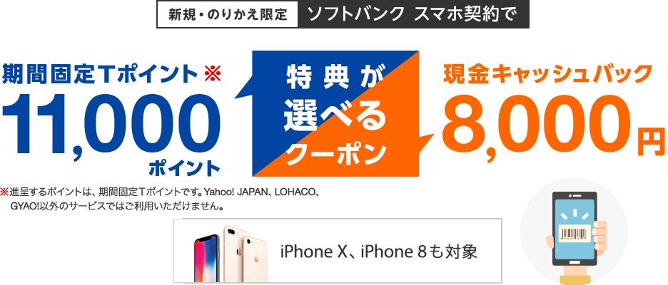 新規・のりかえ限定 ソフトバンク スマホ契約で特典が選べるクーポン 期間固定Tポイント11,000ポイント(進呈するポイントは、期間固定Tポイントです。Yahoo! JAPAN、LOHACO、GYAO!以外のサービスではご利用いただけません。)または現金キャッシュバック8,000円 iPhone X、iPhone 8も対象