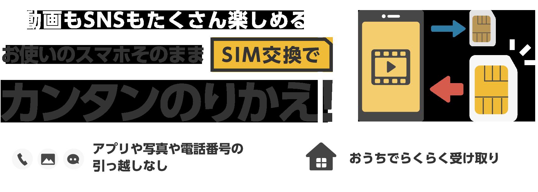 動画もSNSもたくさん楽しめる お使いのスマホそのままSIM交換でカンタンのりかえ! アプリや写真や電話番号の引っ越しなし おうちでらくらく受け取り