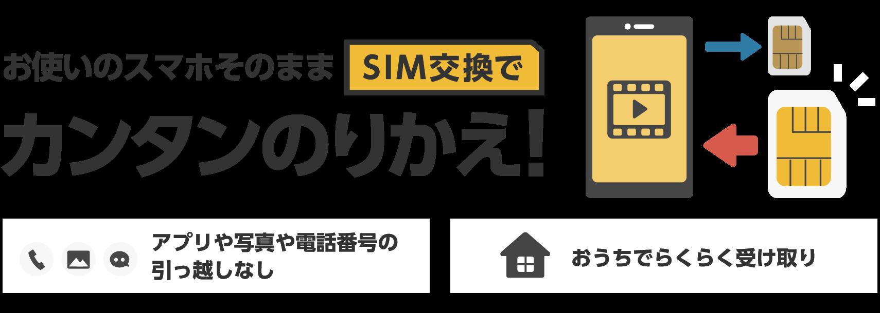 お使いのスマホそのままSIM交換でカンタンのりかえ! アプリや写真や電話番号の引っ越しなし おうちでらくらく受け取り