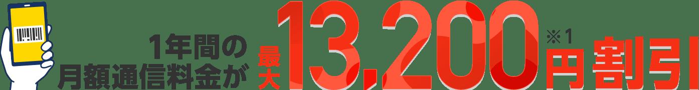 1年間の月額通信料金が最大13,200円割引(※1)
