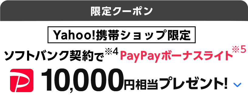 限定クーポン Yahoo!携帯ショップ限定 ソフトバンク契約で(※4)PayPayボーナスライト(※5)10,000円相当プレゼント!