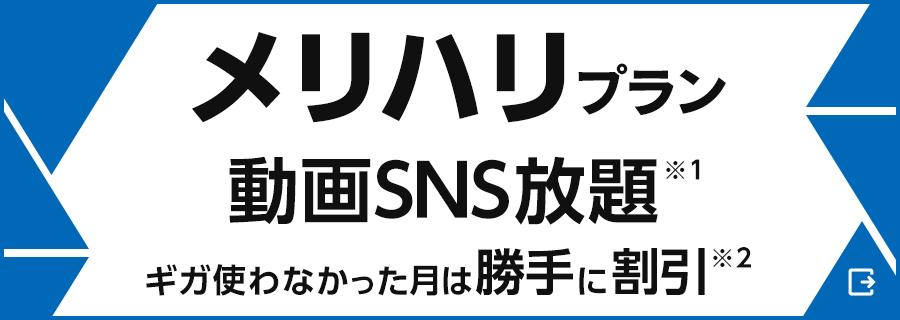 「メリハリプラン」動画SNS放題(※1)ギガ使わなかった月は勝手に割引(※2)