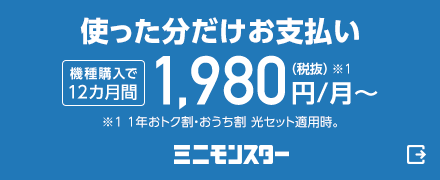 使った分だけお支払い。機種購入で12カ月間月額1,980円(税抜)から(※1)(※1 1年おトク割・おうち割 光セット適用時)。ミニモンスター(外部サイト)