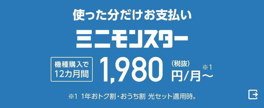 使った分だけお支払い ミニモンスター 機種購入で12カ月間月額1,980円(税抜)から※1 ※1 1年おトク割・おうち割 光セット適用時。(外部サイト)