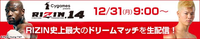 大晦日RIZIN史上最大のドリームマッチを9:00~生配信!