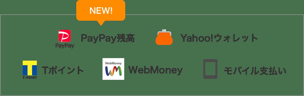 PayPay、Tポイント、モバイル支払い、ヤフーウォレット、Webmoneyで支払い可能