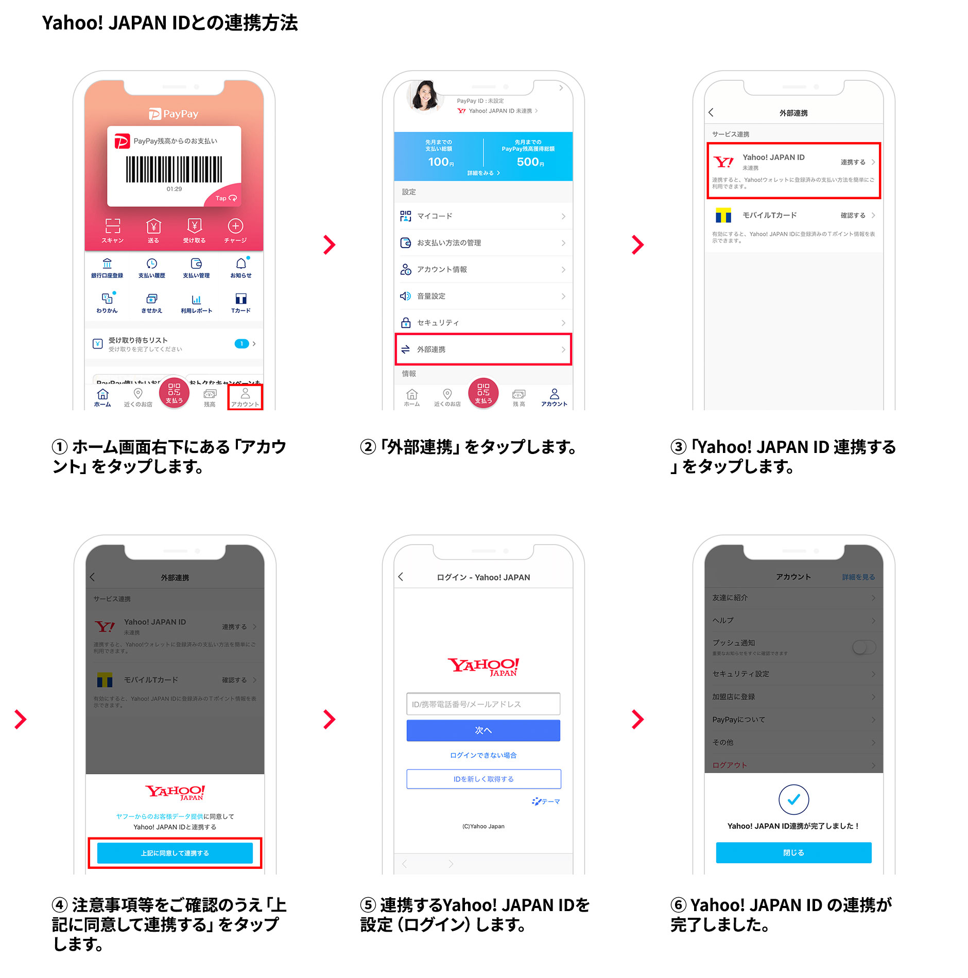 Yahoo!JAPAN IDとの連携方法