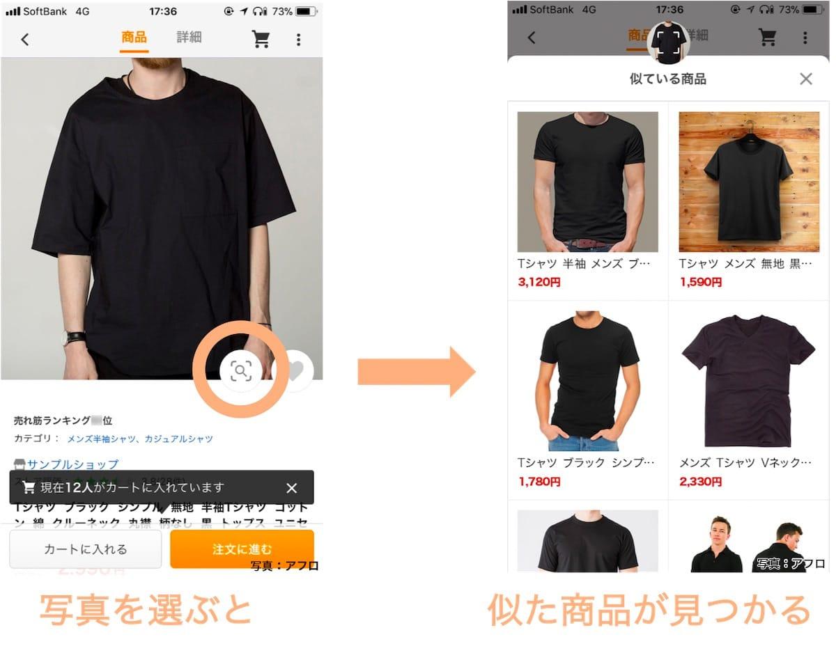 この商品と見た目の似た商品一覧が表示される