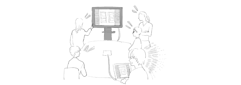 会議中のデザイナーの絵