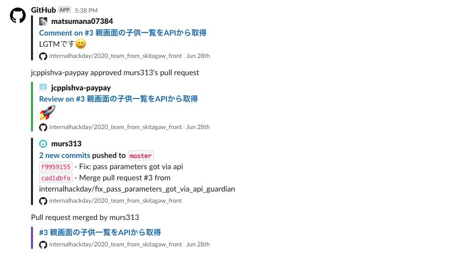 Slackに導入したGitHubアプリ