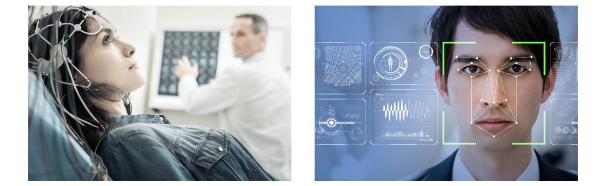 EEGによる脳波計測と表情認識のイメージ