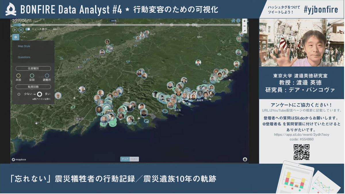 「忘れない」震災犠牲者の行動記録 渡邉先生発表風景