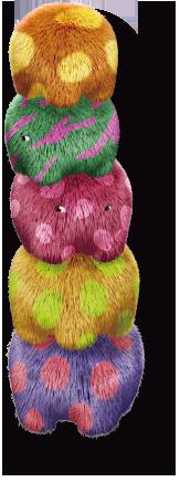 カラフルな水玉模様の大きな重なる毛玉 furphant(ファーファント)