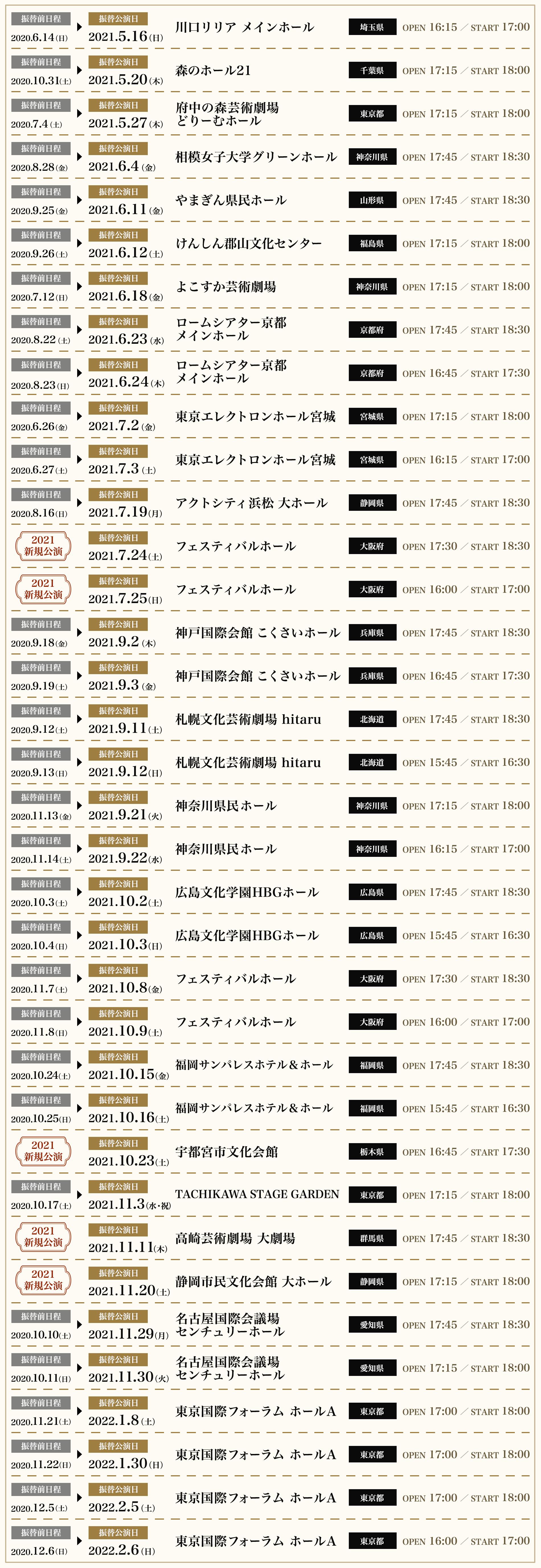 ツアー全日程表