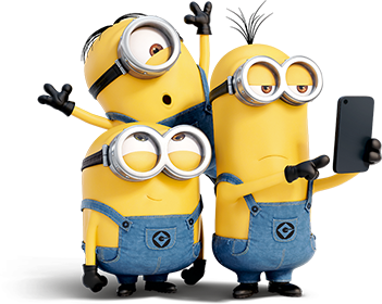 minions looking at cell phone