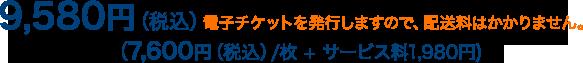 9,580円(税込)電子チケットを発行しますので、配送料はかかりません。(7,600円(税込)/枚+サービス料1,980円)