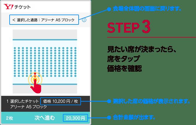 手順3 見たい席が決まったら、席をタップ 価格を確認 会場全体図の画面に戻ります。 選択した席の価格が表示されます。 合計金額が出ます。