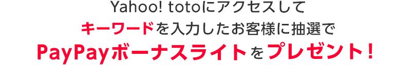 Yahoo! totoにアクセスしてキーワードを入力したお客様に抽選でPayPayボーナスライトをプレゼント!