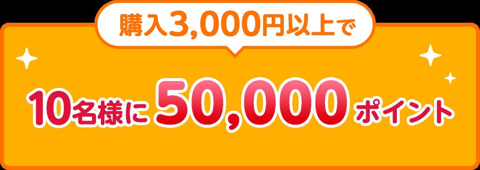 購入3,000円以上で10名様に50,000ポイント
