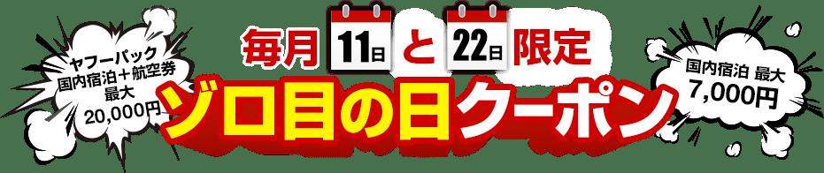 毎月11日と22日はゾロ目の日 ゾロ目の日限定クーポン