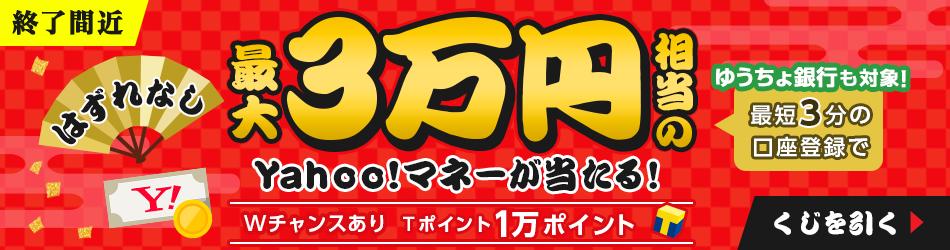 最大3万円相当のYahoo!マネーが当たる!