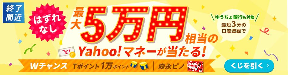 最大5万円相当のYahoo!マネーが当たる!