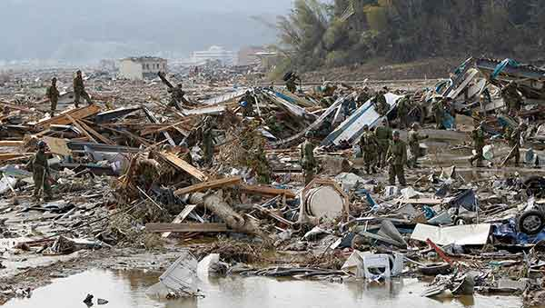 東日本大震災:壊滅的被害 陸前高田市