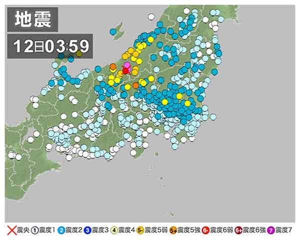 【関東・信越地方の地震情報】2011年3月12日3時59分ごろ発生 最大震度6強 震源地:新潟県中越地方