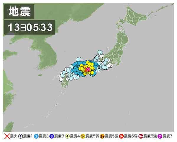 【全国の地震情報】2013年4月13日5時33分ごろ発生 最大震度6弱 震源地:淡路島付近