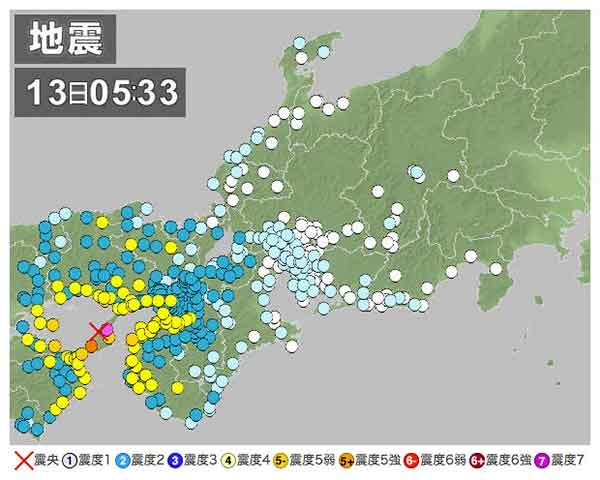 【東海・北陸・近畿地方の地震情報】2013年4月13日5時33分ごろ発生 最大震度6弱 震源地:淡路島付近