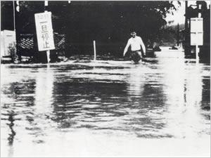 国鉄嶋踏切(市道補42号線)(小野市粟生町付近):南岸沖の梅雨前線が、南方海上から北上した2個の熱帯低気圧の影響も加わって、次第に活動が強まった。兵庫県では25日早朝から27日朝にかけて3回にわたる集中豪雨があり、神戸市を中心に県南部に大きな被害をもたらした。神戸市内では26日未明から所々で崖崩れを誘発し、多数の犠牲者を出した。一方、短時間による急激な増水により、小河川、支流、および溜め池等が決壊、溢水したが、なかでも伊丹市内では、26日6時30分頃に天王子川、27日11時30分頃には天神川と両河川の堤防決壊により、同地域一帯の500戸が床上・床下浸水した。神戸市では27日頃、宇治川の溢水で生田区(現在は中央区)元町付近一帯が水浸しとなった。また加古川水系曇川・別府川の溢水により加古川市内および南部一帯が浸水した。この他に、国鉄、私鉄の交通機関が土砂崩れ・浸水などの被害を受けた。