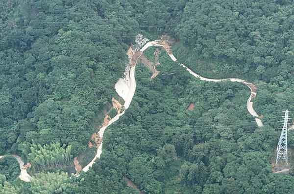 山間部の林道では、斜面崩壊が多数発生している。(1999年7月1日撮影)