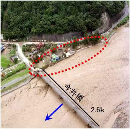 糸魚川市上刈地先 洪水時河川洗掘による堤防決壊状況:梅雨前線が停滞し、南から湿った空気が流入したため、前線の活動が活発となり、局地的に激しい雨を降らせました。10日夜半から降り出した降雨は11日夕方にピークを迎え、白馬岳観測所で時間雨量123㎜を記録するなど記録的な豪雨(梅雨前線豪雨)となりました。姫川では越水を伴わない堤防の決壊、JR大糸線の不通、糸魚川市大所地区での土石流被害など多くの災害をもたらしました。床下浸水195戸、床上浸水48戸、家屋全半壊38戸、床下浸水320戸。