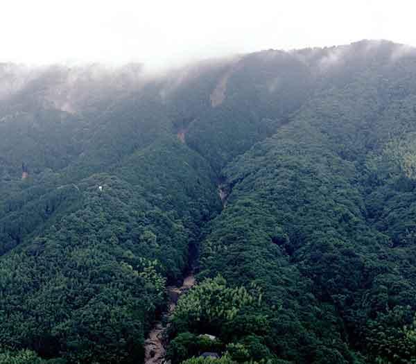 太宰府土石流斜め写真:太宰府市街地の北に位置する大城山、南の縁にある四王寺山脈の南東斜面に崩壊が生じている。(2003年7月19日撮影)